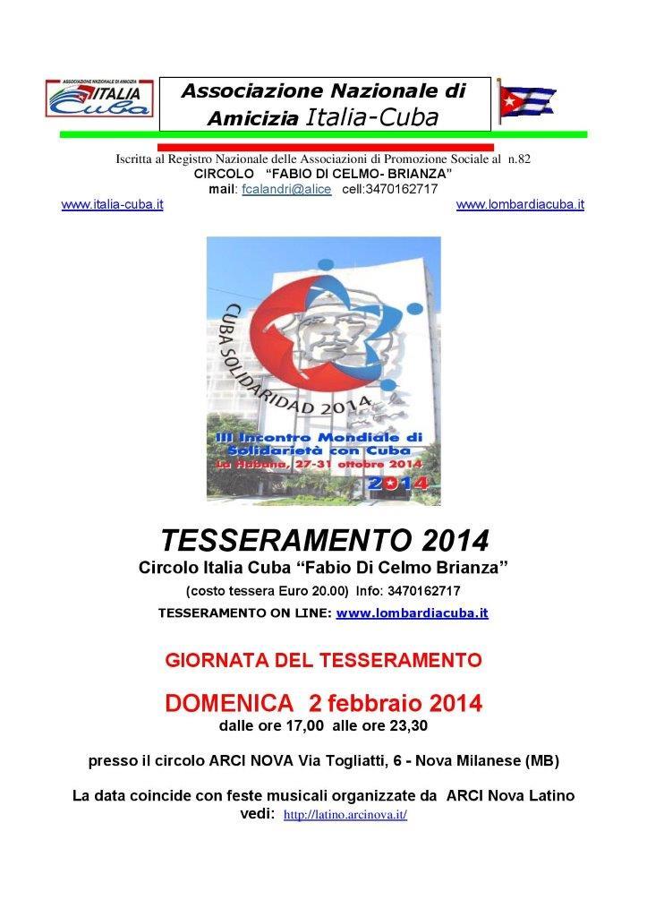volantino 2014  ITALIA CUBA FABIO DI CELMO